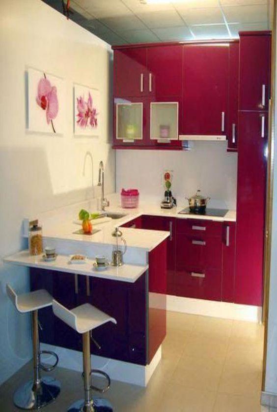 cozinha em L em laca rosa