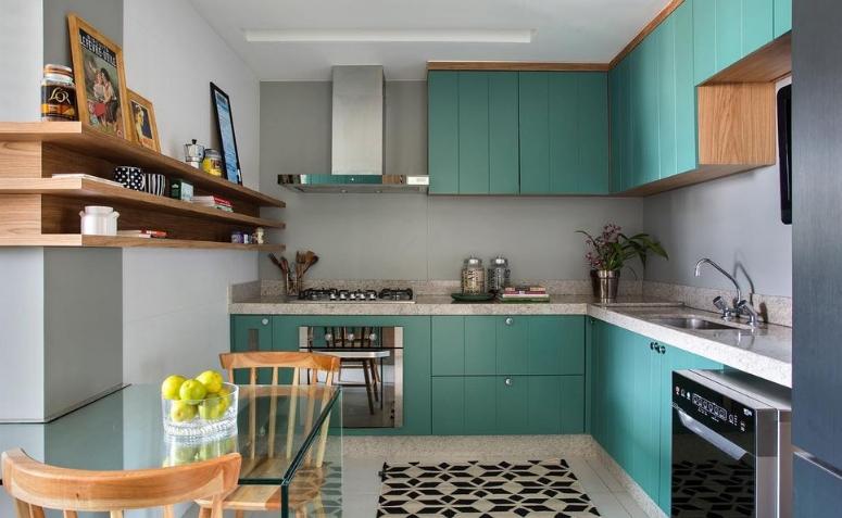 cozinha em L verde e cinza