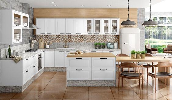 cozinha em L com ilha em cores neutras