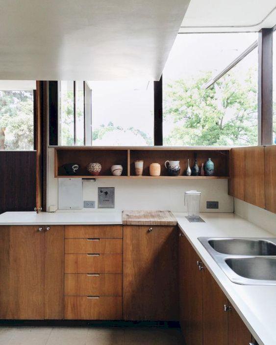 cozinha em l moderna com cuba dupla