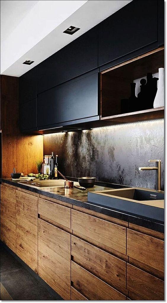 madeira com preto rústica e cimento queimado