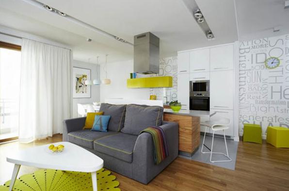 cozinha americana com sala de estar cítrica