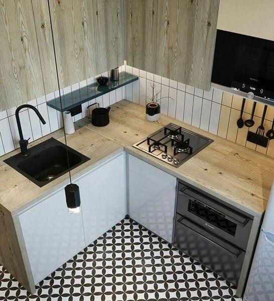 cozinha pequena em L com fogão 3 bocas
