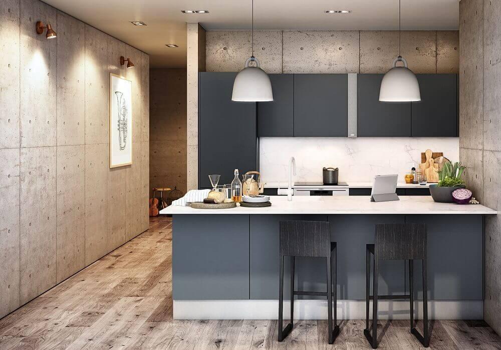 Apartamento com decoração moderna e bancada preta.