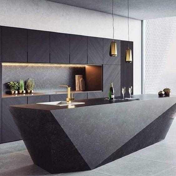 cozinha preta com ilha em pedra preta