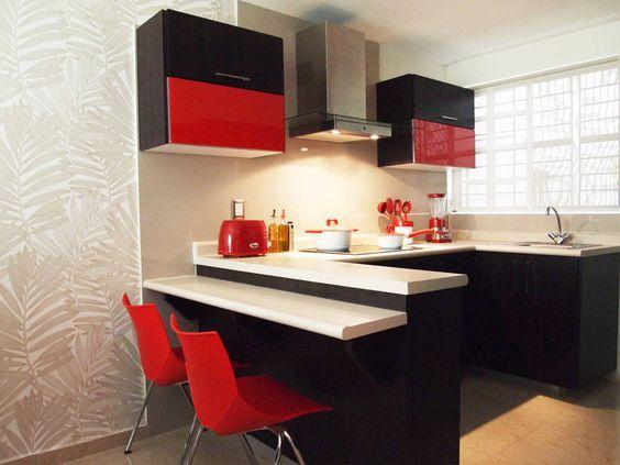 cozinha branca vermelha e preta