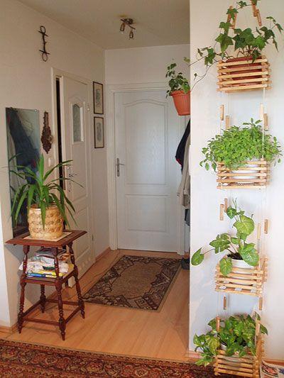 Jardim vertical com caixotes.