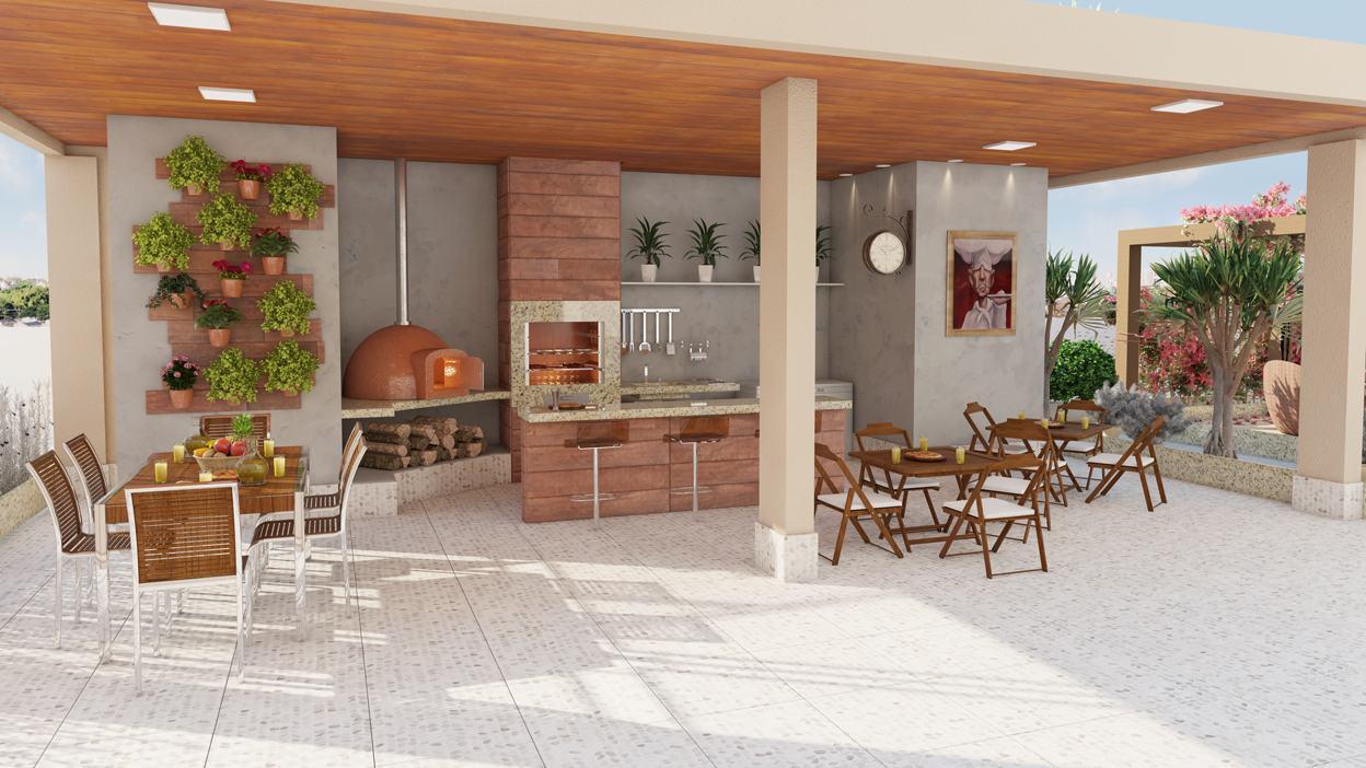 Área gourmet traz churrasqueira a gás, forno a lenha e área ampla para refeições.