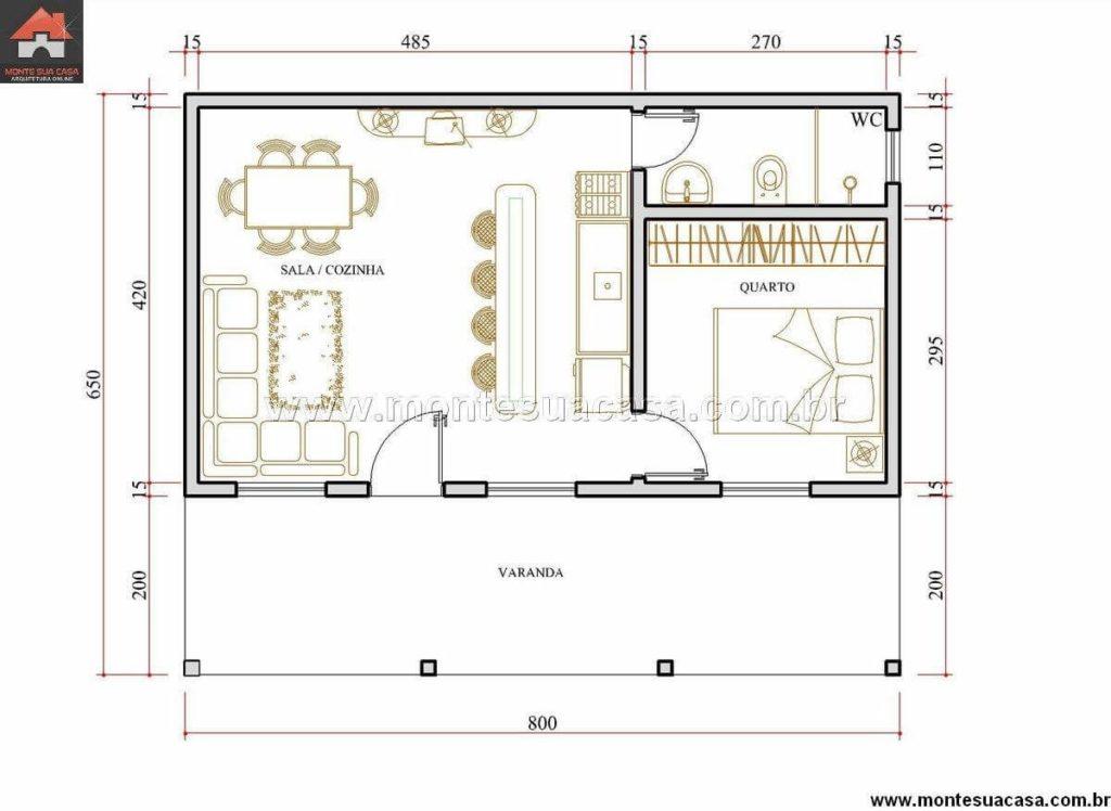 Planta de edícula com 52 m², com casa completa.