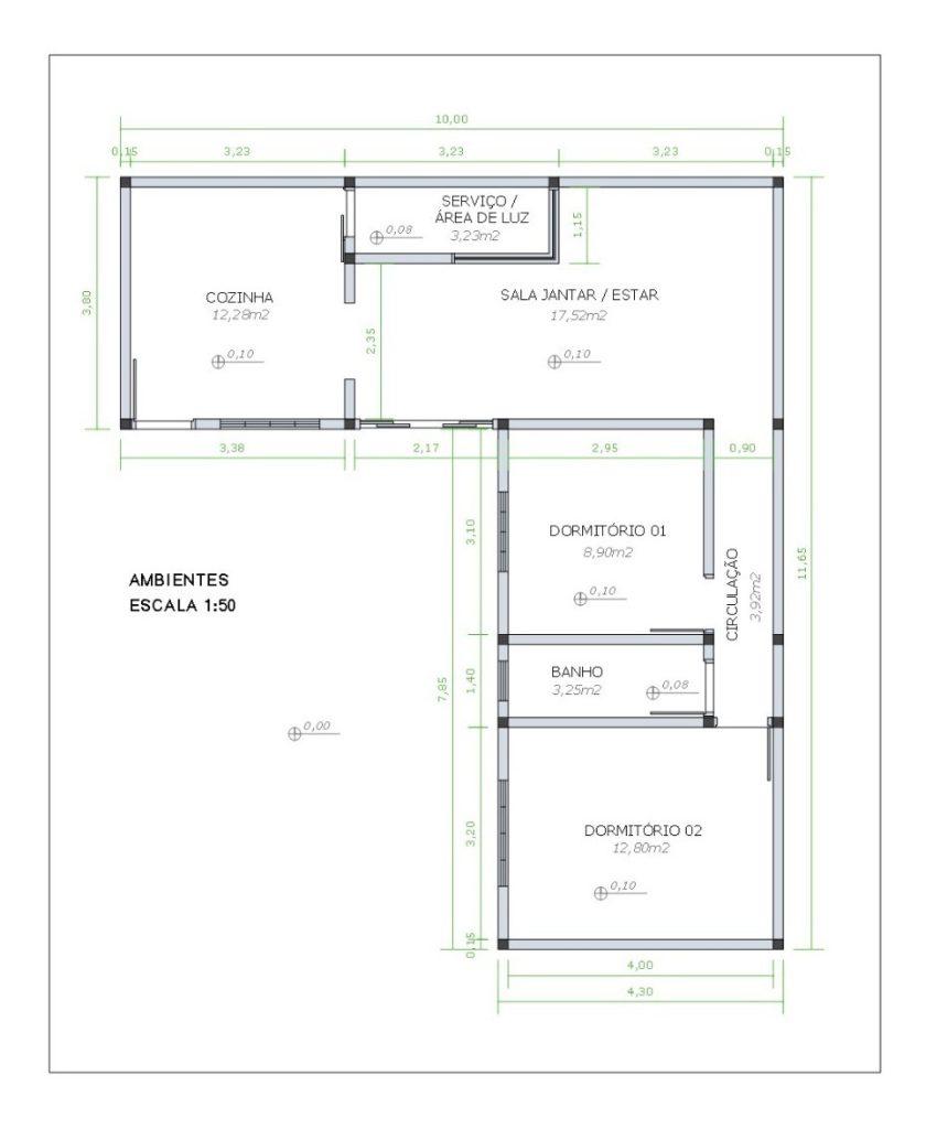 Planta de edícula com 71 m², com dois dormitórios.