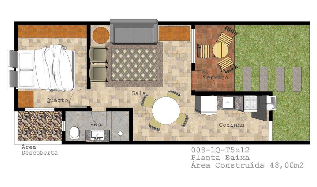 Planta de edícula com 48 m², com um só dormitório, cozinha e sala de estar e jantar.