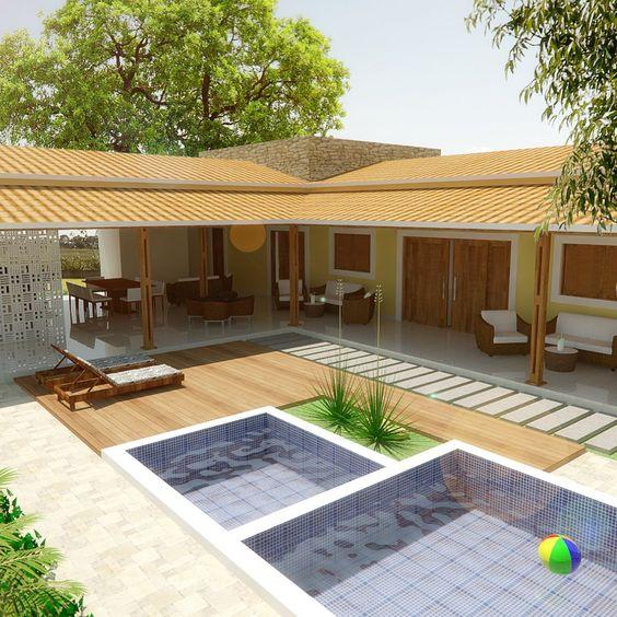 Modelos de edícula: projeto em L com piscina.