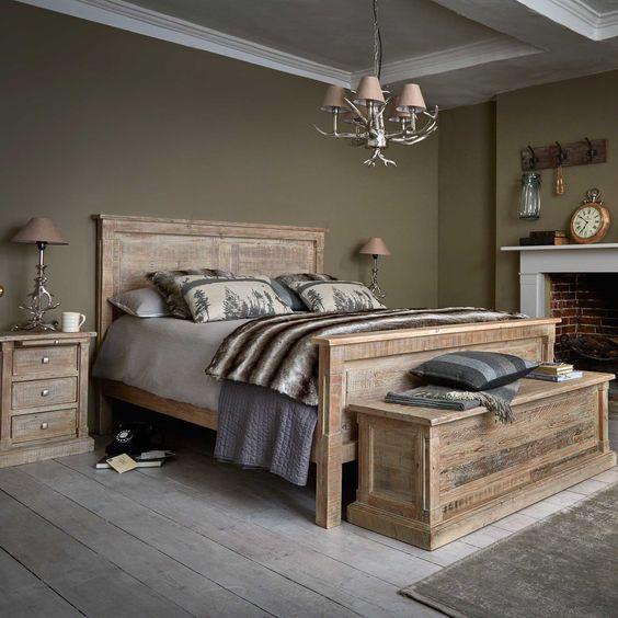 Móveis para quarto trazem um visual rústico e aconchegante.
