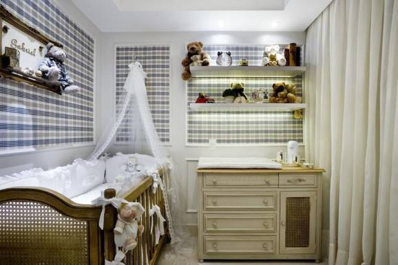 quarto de bebê menino xadrez azul