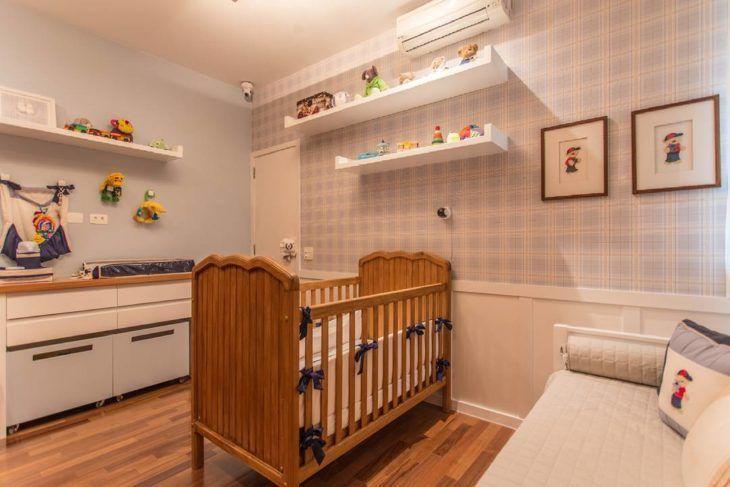 Quarto bebê azul xadrez, quarto com motivos infantis