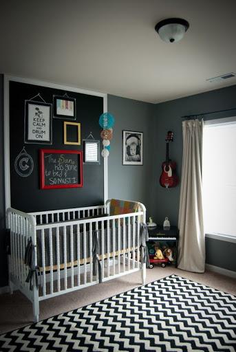 quarto de bebê menino preto e cinza