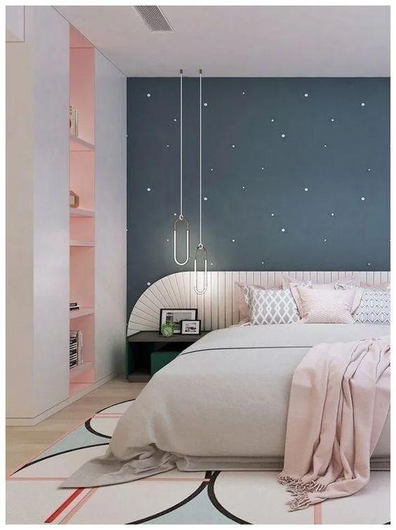 quarto feminino azul e rosa