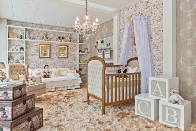 quarto de bebê vintage marrom e bege