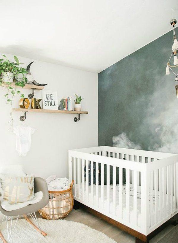 quarto de bebê parede verde escura com textura