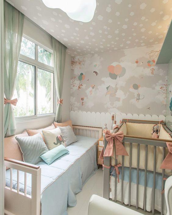 quarto para duas meninas rosa e cinza