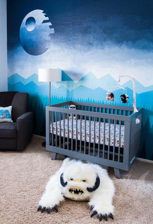 quarto de menino lua azul papel de parede