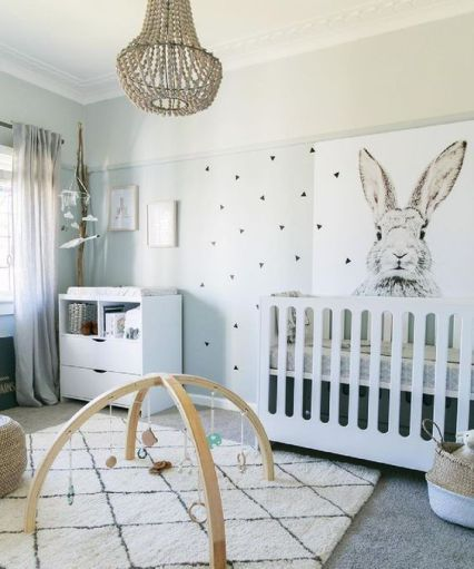 quarto de bebê tumbrl branco com coelho