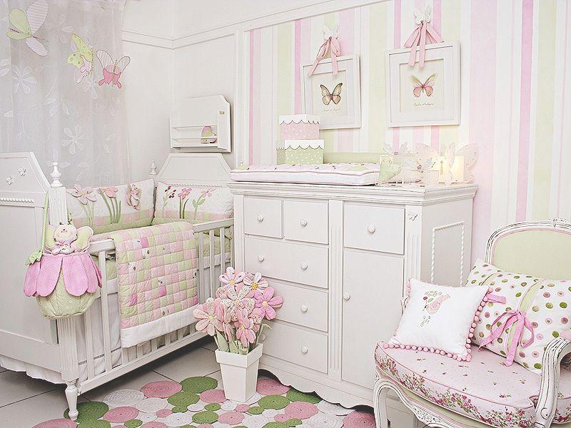 quarto de bebê menina rosa e verde