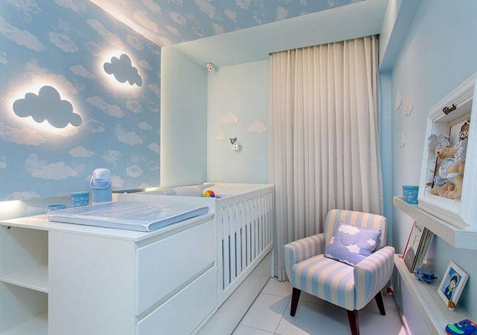 quarto masculino azul bebê  com nuvens