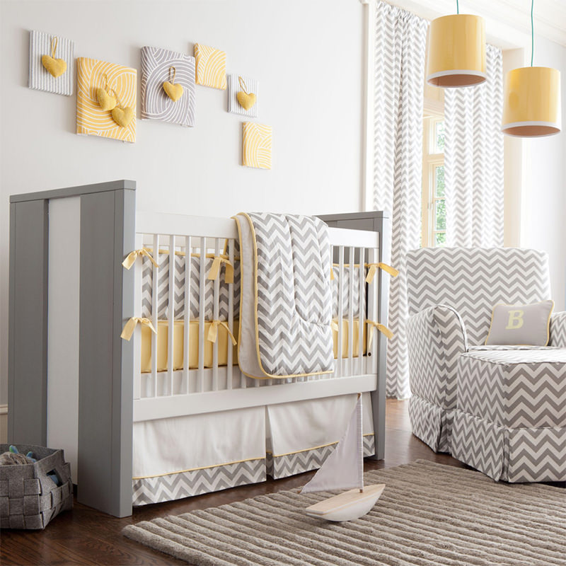 quarto de bebê menino chevron cinza e amarelo tendência