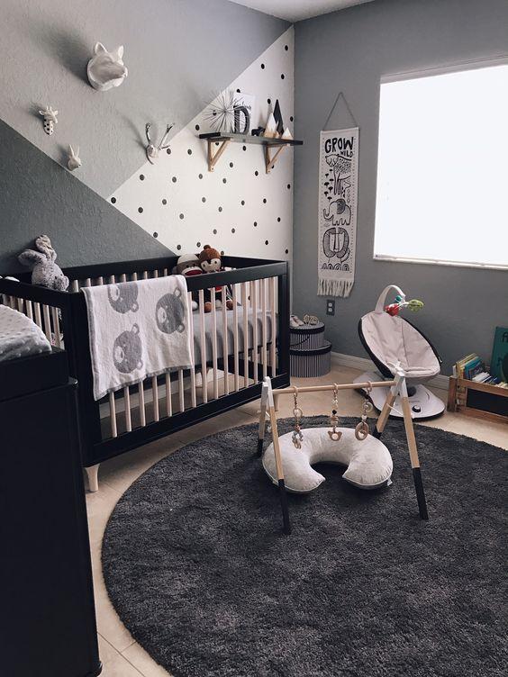 quarto de bebê menino preto cinza e branco