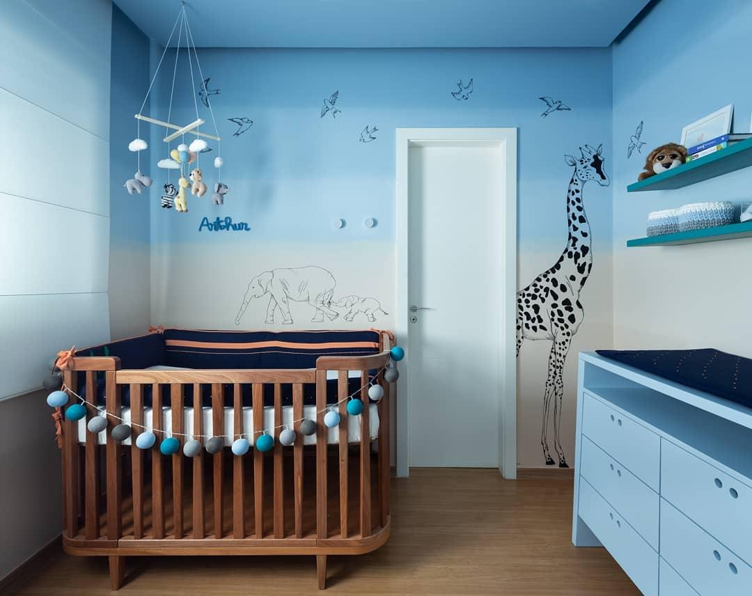 quarto de bebê menino degradê de azul