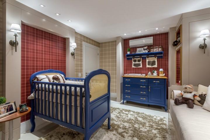 quarto de bebê xadrez e azul