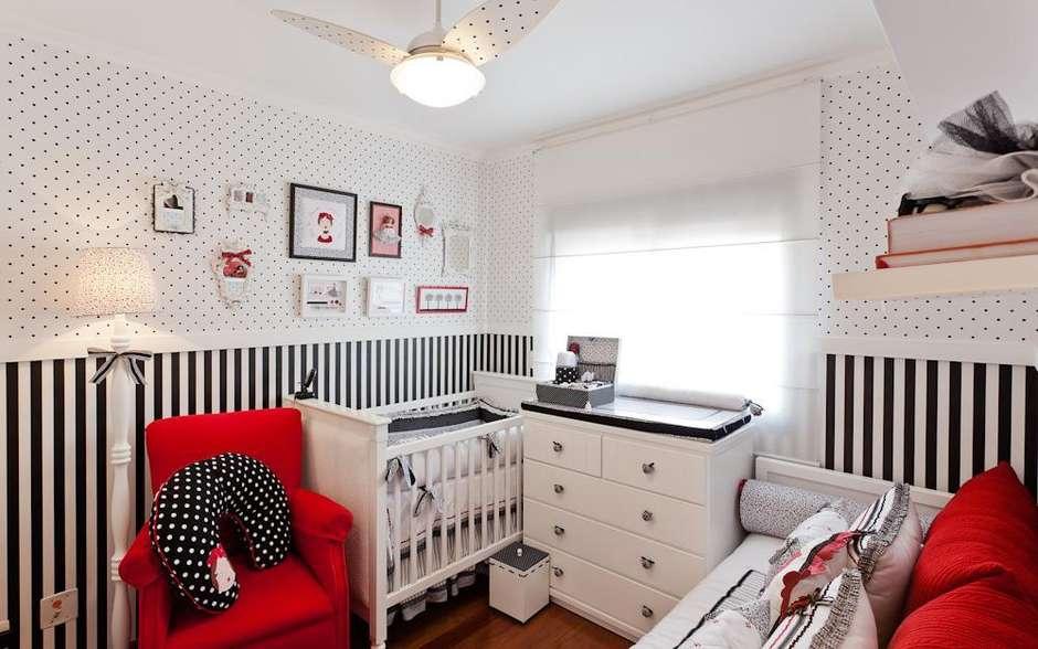quarto preto branco e vermelho menino