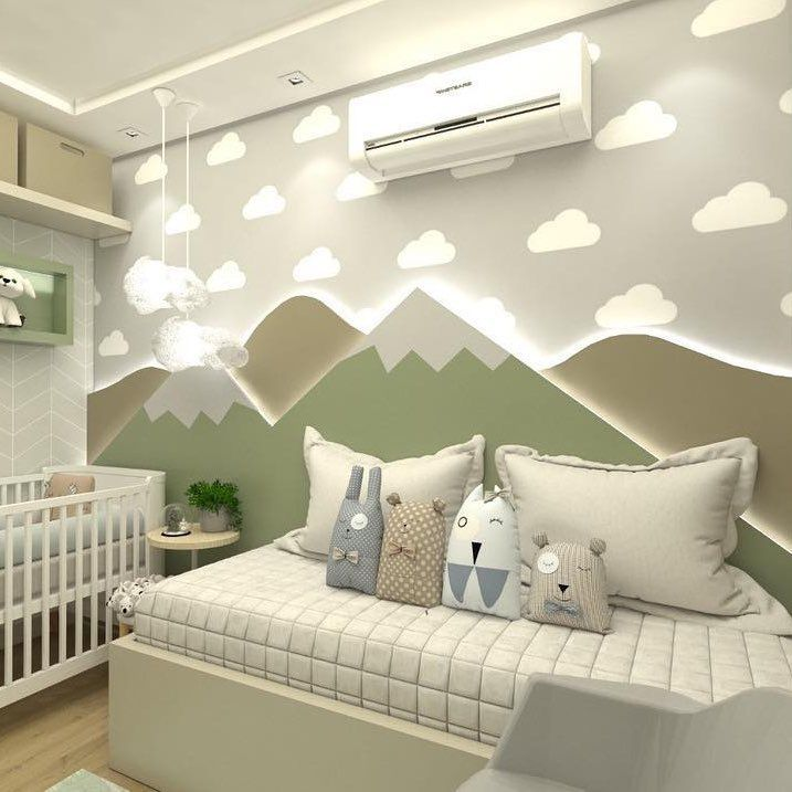 quarto de bebê com montanha verde