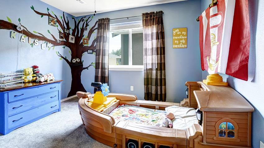 quarto de bebê tema náutico berço barco