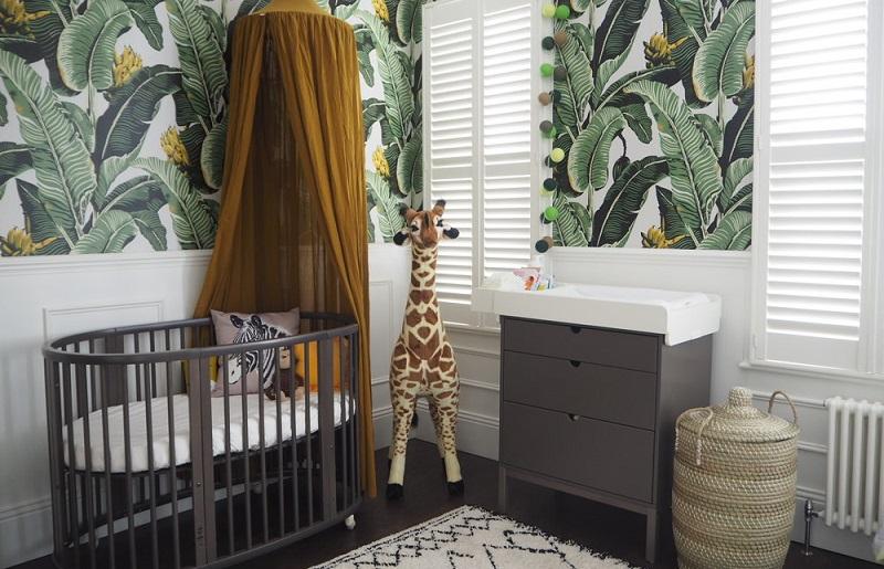 quarto de bebê selva verde