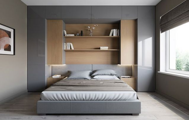 Quarto com decoração moderna e minimalista.