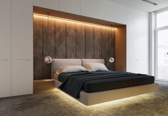 Quarto com decoração moderna e cama suspensa.