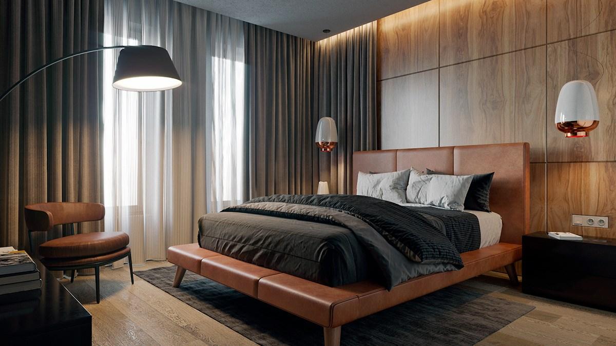 Quarto com decoração moderna em couro e madeira.