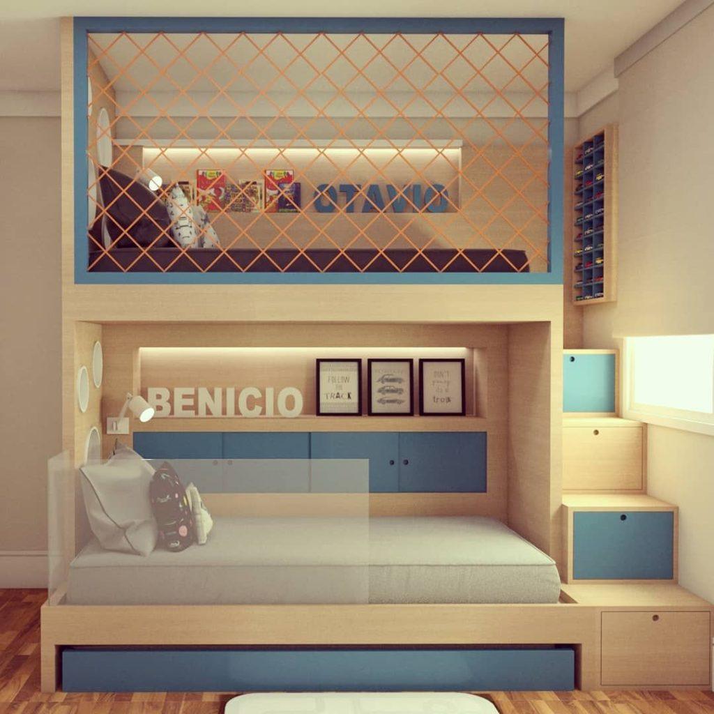 beliche com gavetas e nichos para criança.
