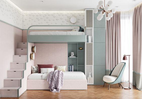 quarto de criança planejado azul e rosa