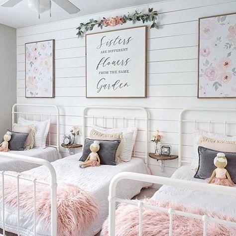 quarto para 3 meninas rosa