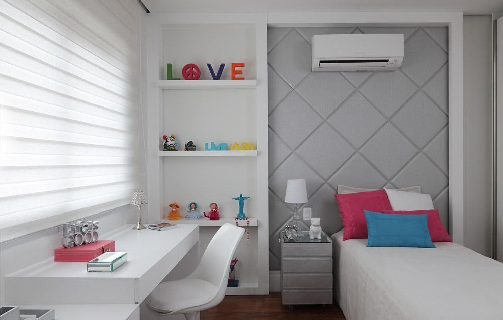 quarto de criança planejado branco e cinza menina