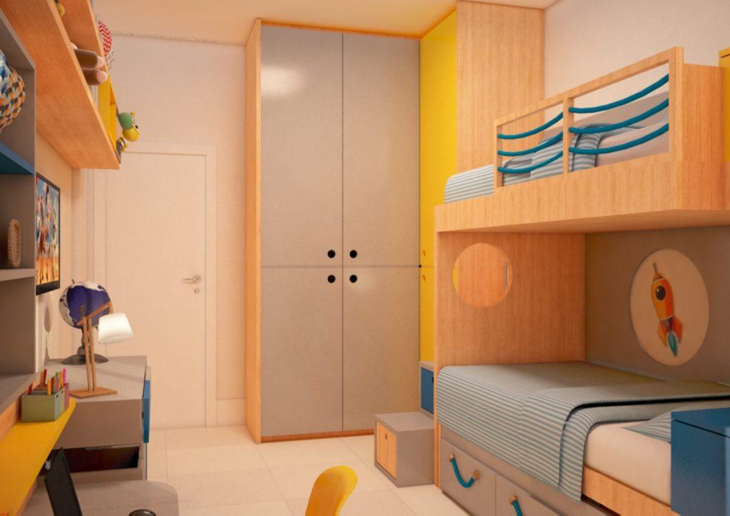 quarto  infantil planejado com guarda roupas e beliche