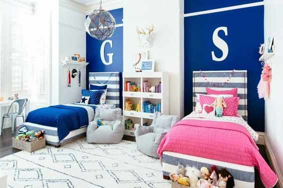 quarto para duas crianças menino e menina azul
