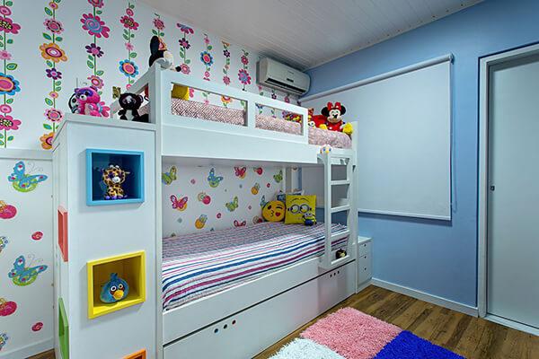Beliche branco para quarto de menina.