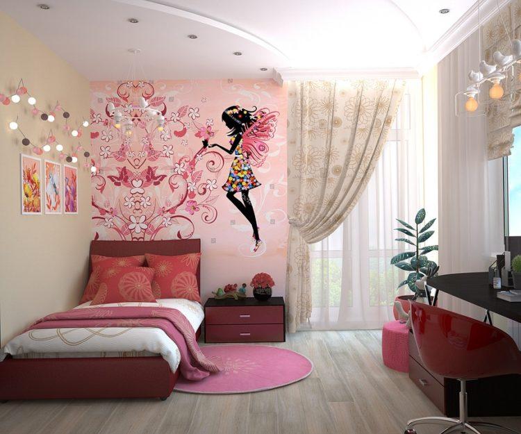 Quarto de menina com decoração rosa e cama estofada vermelha