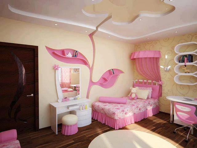 quarto de criança menina com teto e nicho de gesso.