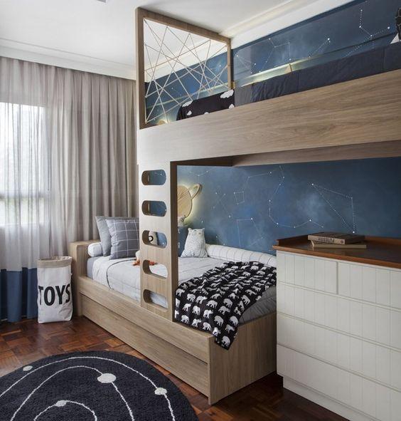beliche de madeira com cômoda papel de parede contelações