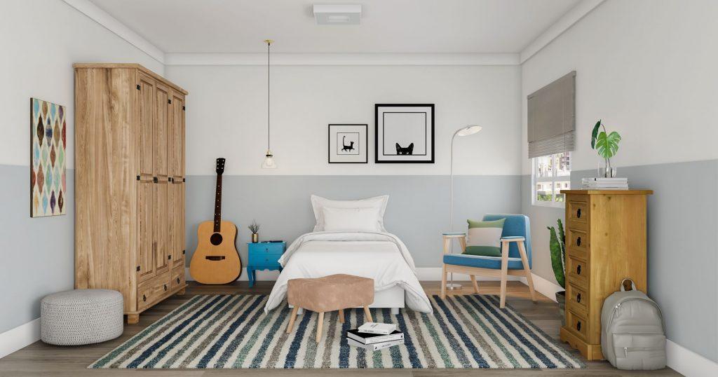 Quarto com decoração praiana e minimalista.
